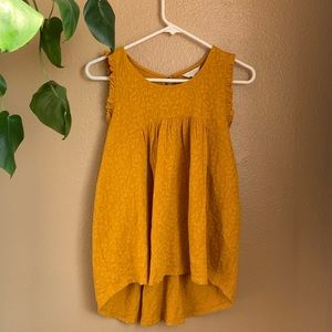 Lucky Brand Mustard Yellow Ruffled Top.